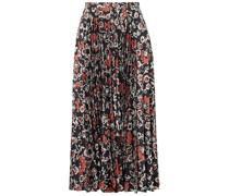 Kim Pleated Printed Satin-jacquard Midi Skirt