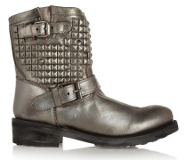 Titan Studded Metallic Leather Ankle Boots Silber