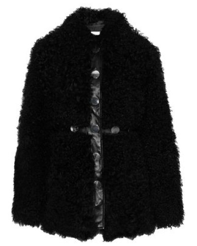 Yanis Studded Leather-trimmed Shearling Jacket Black