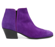 Leather-trimmed Suede Ankle Boots Lila