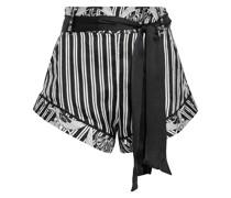 Shorts aus Glänzendem Seiden-jacquard mit Print