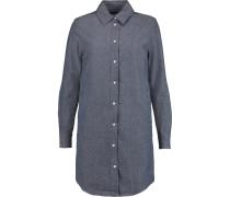 Cotton And Silk-blend Mini Shirt Dress Kobaltblau
