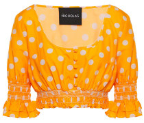 Cropped Shirred Polka-dot Cotton And Silk-blend Top