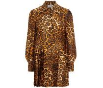 Hemdkleid aus Seidensatin in Minilänge mit Leopardenprint und Falten