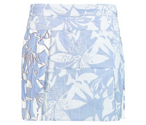 Chiffon-paneled Printed Cotton-blend Mini Skirt Himmelblau