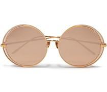 Round-frame -tone Mirrored Sunglasses