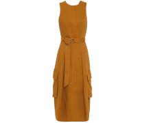 Cutout Belted Linen-blend Twill Dress