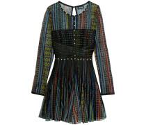 Satin-paneled Printed Mesh Mini Dress Schwarz