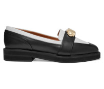 Embellished Two-tone Leather Loafers Schwarz