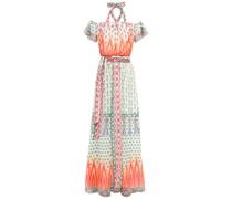 Millais Cold-shoulder Printed Chiffon Maxi Dress