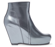 Metallic Patent-leather Wedge Boots Stahlgrau