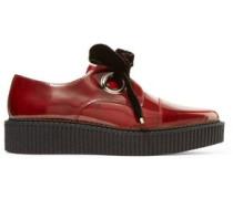 Kent velvet bow-embellished patent-leather brogues