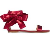 Lace-up satin sandals