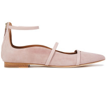 Robyn Leather-trimmed Suede Point-toe Flats