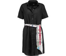 Belted Cotton-blend Shirt Dress Schwarz