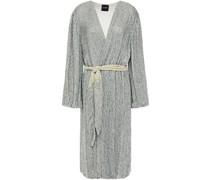 Audrey Neonfarbenes Wickelkleid aus Chiffon mit Pailletten und Samtbesatz