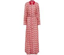 Elpis Belted Printed Silk-satin Twill Maxi Shirt Dress