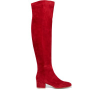 Suede Over-the-knee Boots Bordeaux
