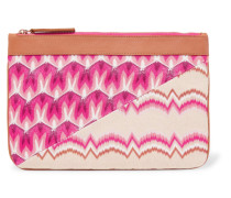 Leather-trimmed Crochet-knit Clutch Pink