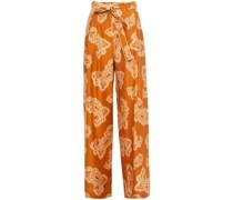 Hose mit Weitem Bein aus Seiden-twill mit Paisley-print und Gürtel