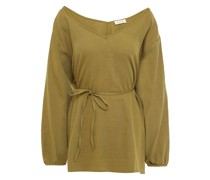 Belted Cotton And Wool-bend Twill Top