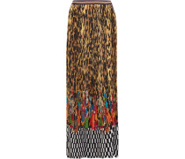 Pleated Printed Crepe De Chine Maxi Skirt Leoparden-Print