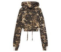 Cropped Cotton-blend Jacquard Hoodie