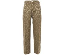 Woman Tartaro Cotton-blend Jacquard Straight-leg Pants Mushroom
