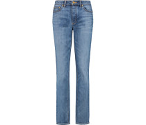 High-rise Straight-leg Jeans Mittelblauer Denim
