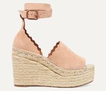 Lauren Scalloped Suede Espadrille Wedge Sandals