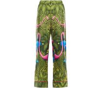 Woman Etere Printed Silk-twill Straight-leg Pants Leaf Green