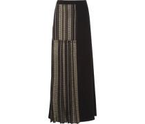 Pleated metallic-trimmed silk maxi skirt