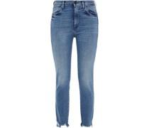 Hoch Sitzende Jeans in ausgewaschener Optik mit Schmalem Bein und Fransen
