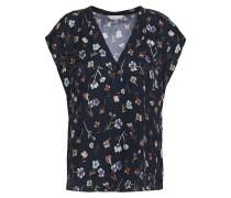 Woman Floral-print Silk-blend Jacquard Blouse Navy
