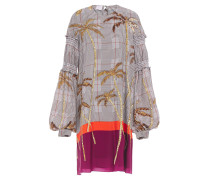 Shirred Printed Crepe De Chine Dress
