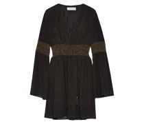Laurel Embellished Crinkled Silk-chiffon Mini Dress Schwarz