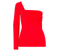 One-shoulder Ruched Stretch-jersey Top