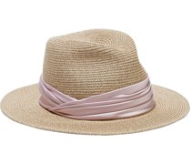 Courtney Satin-trimmed Faux Straw Sunhat