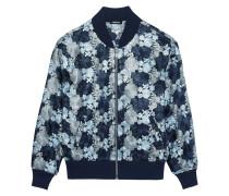 Floral-embroidered Mesh Bomber Jacket Blau