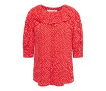 Bluse aus Crêpe De Chine mit Polka-dots und Rüschen