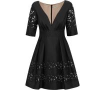 Luz Embroidered Silk-blend Mini Dress Schwarz