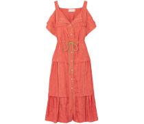 Cold-shoulder Jacquard Midi Dress