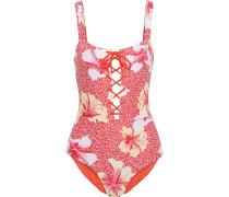 Raquel Lace-up Floral-print Swimsuit