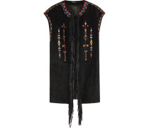 Martin Fringed Embroidered Suede Vest Schwarz