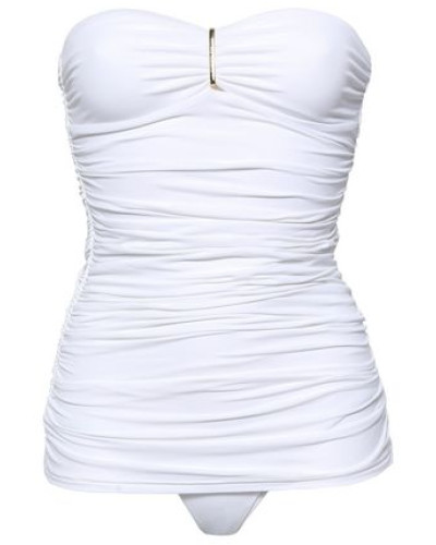 Mauritius Strapless Ruched Swimsuit White
