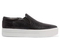 Karma Croc-effect Leather Slip-on Sneakers Schwarz