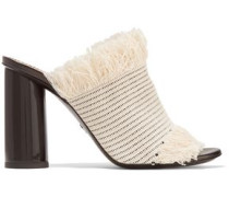 Fringed woven canvas mules