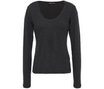 Woman Brushed Cotton-blend Jersey Top Charcoal