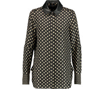 Reade Leather-trimmed Washed-silk Shirt Schwarz
