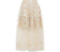 Sequin-embellished Embroidered Tulle Midi Skirt